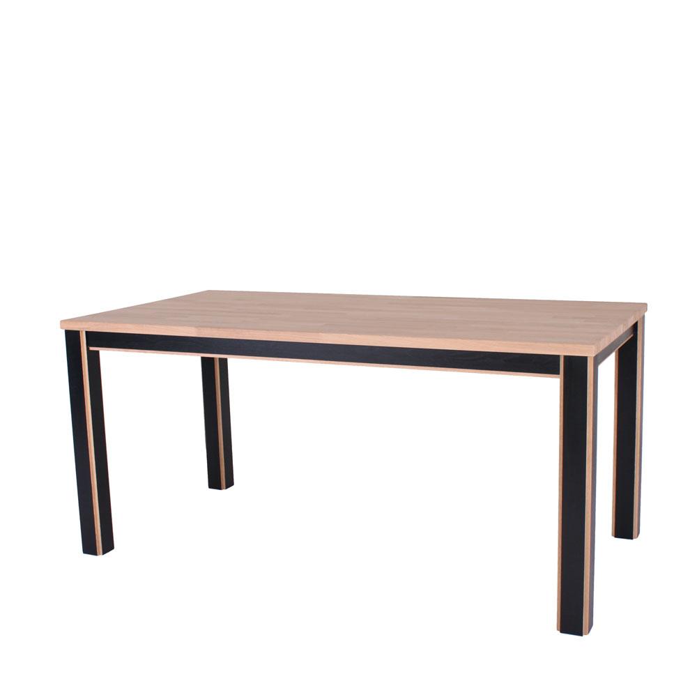 Spisebord, Oslo, massiv eg, sort/lys ege ben