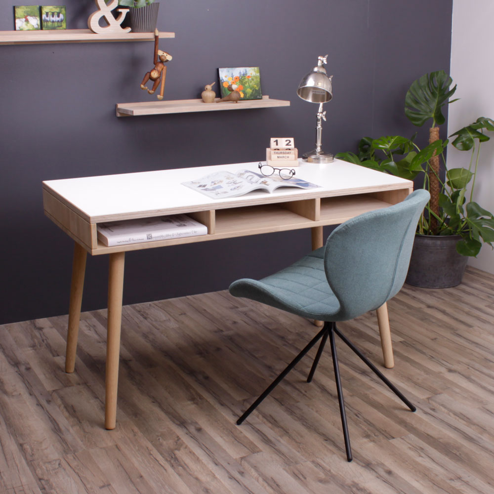 Skrivebord model Portland, hvid/eg