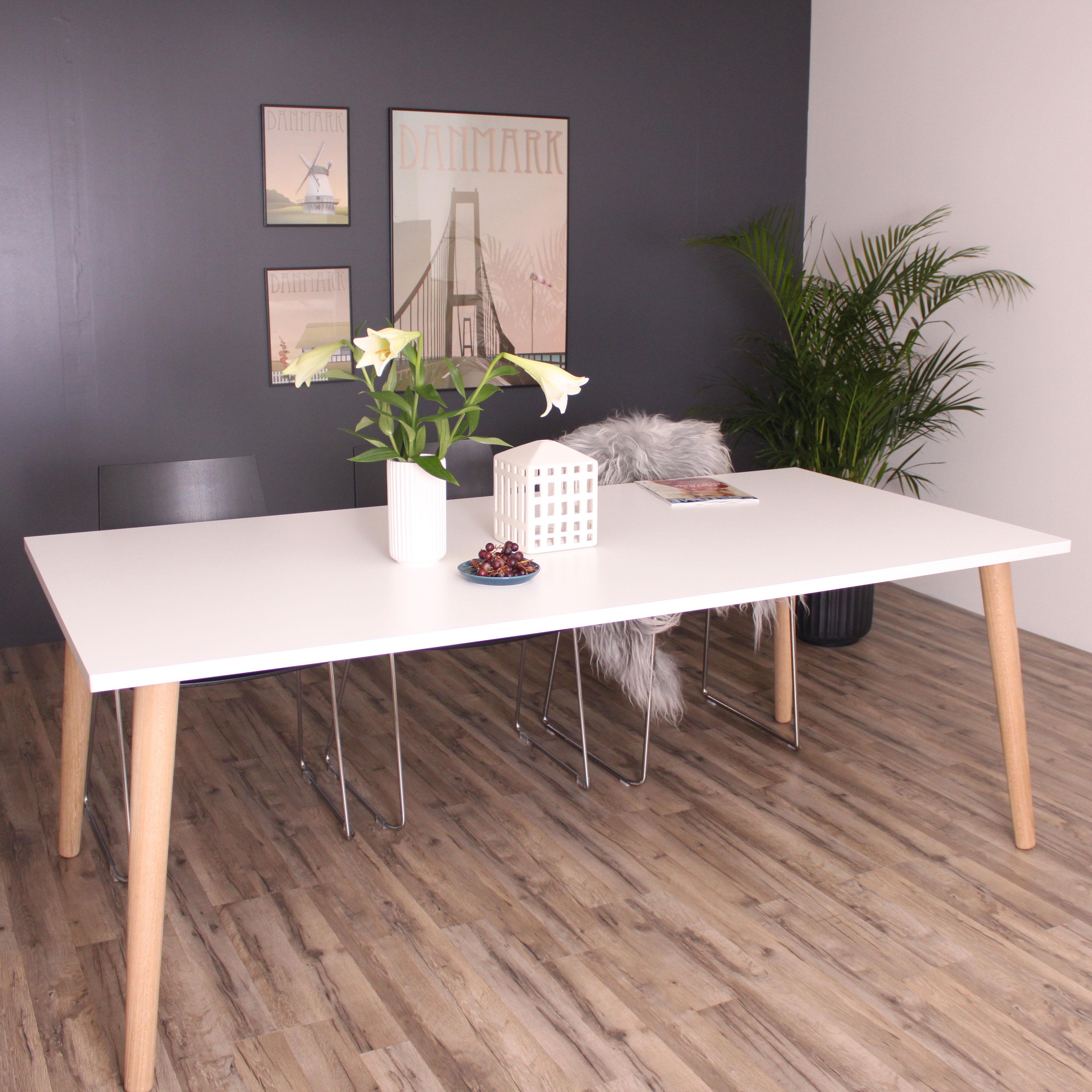 Spisebord, Sandefjord, hvid laminat