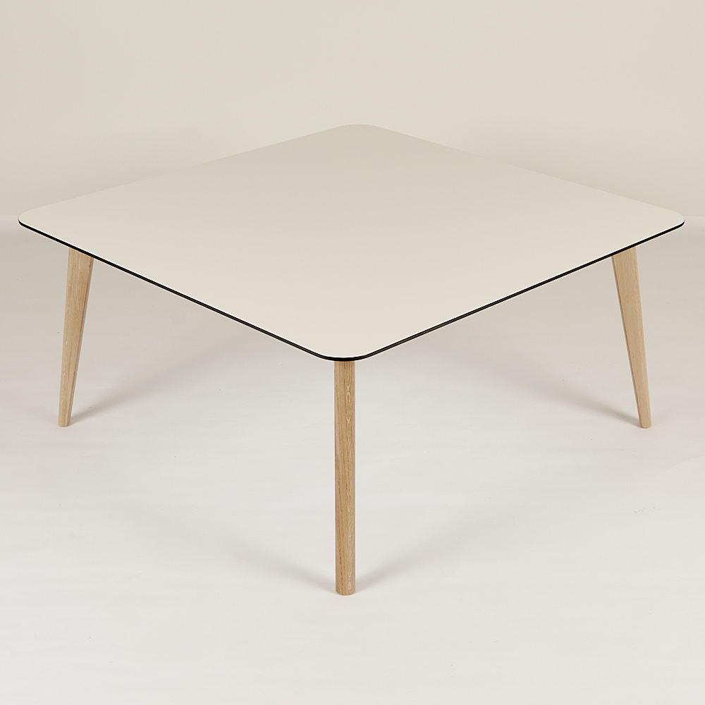 Sofabord Tarbes, hvid højtrykslaminat 95x95
