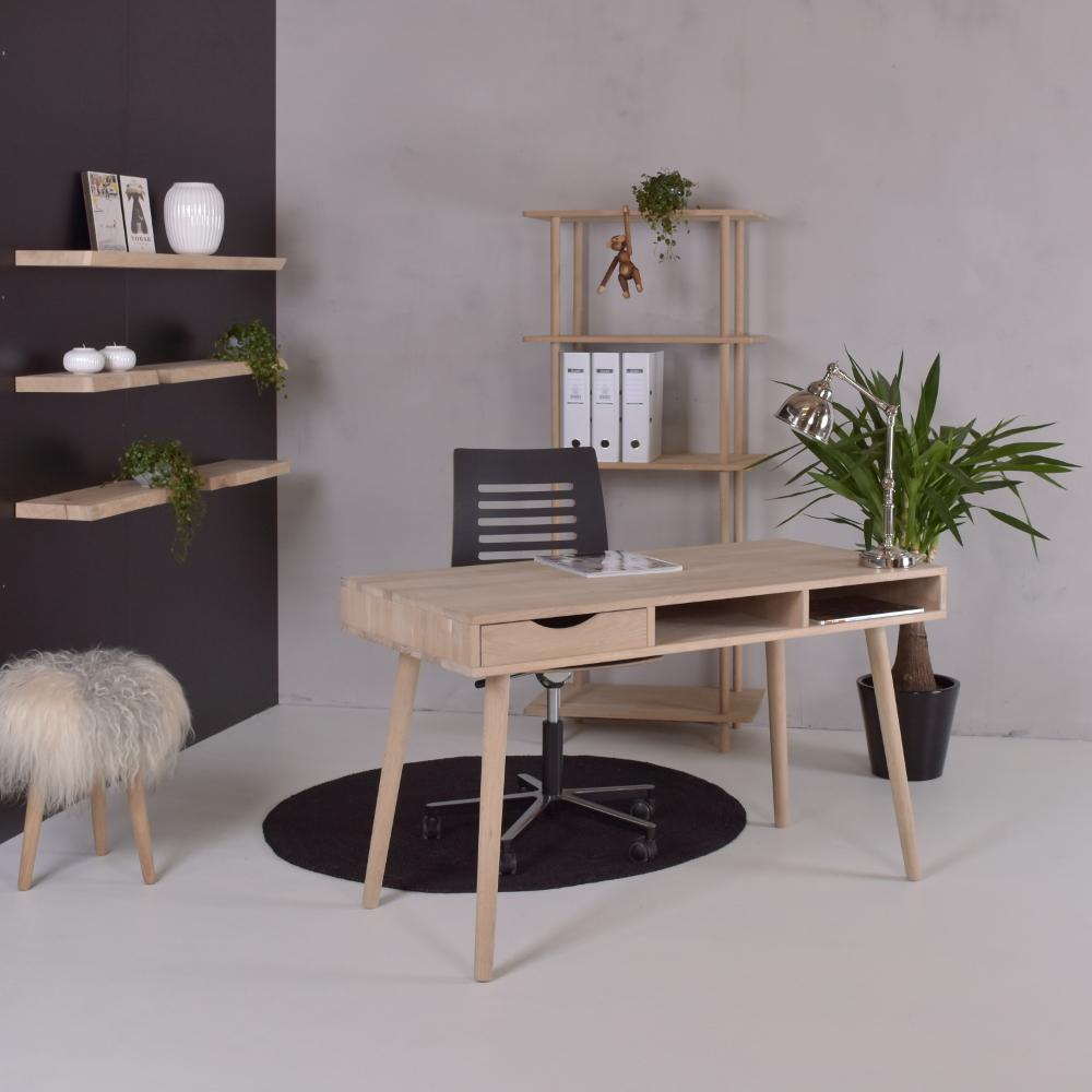 Image of   Skrivebord med 1 skuffe, model Texas, massiv eg