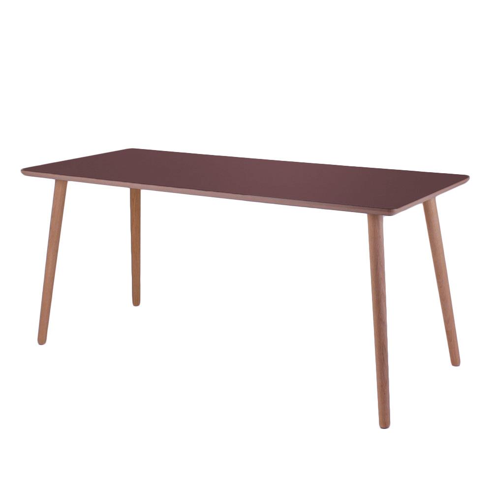 Image of   Linoleum skrivebord, Burgundy med lys kant