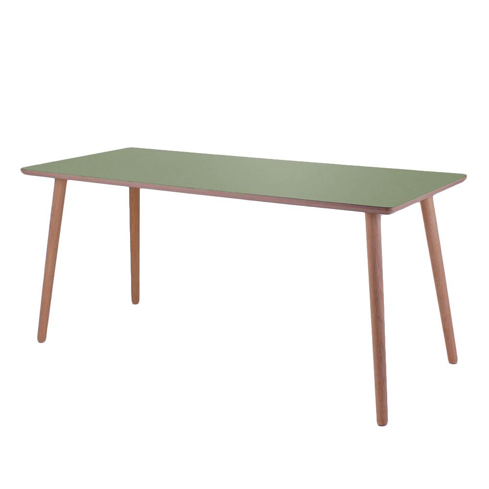 Image of   Olive linoleum skrivebord med lys kant