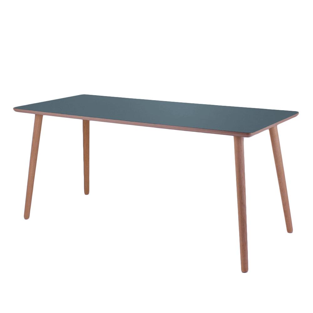 Image of   Linoleum skrivebord, Smokey Blue med lys kant
