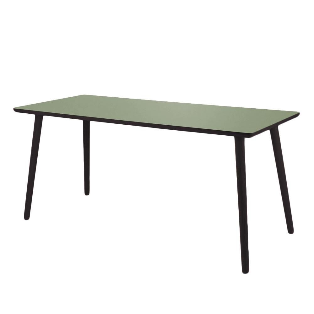 Image of   Skrivebord linoleum, Olive, sort kant