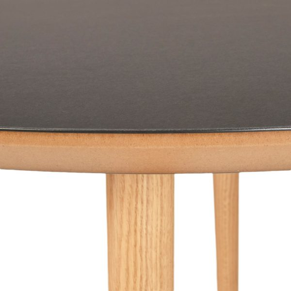 Linoleum spisebord rund sort - detalje
