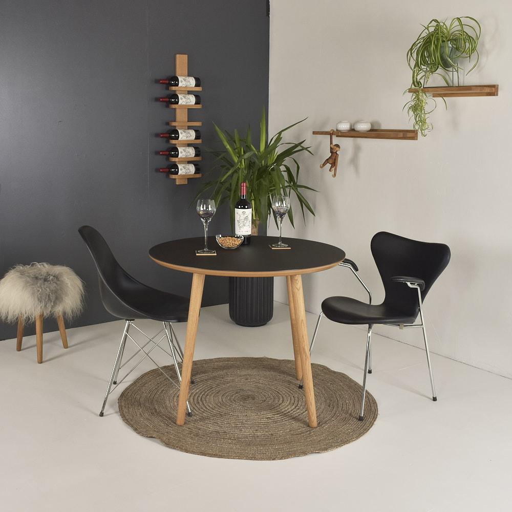 Image of   Rundt linoleum spisebord - Varberg - Sort