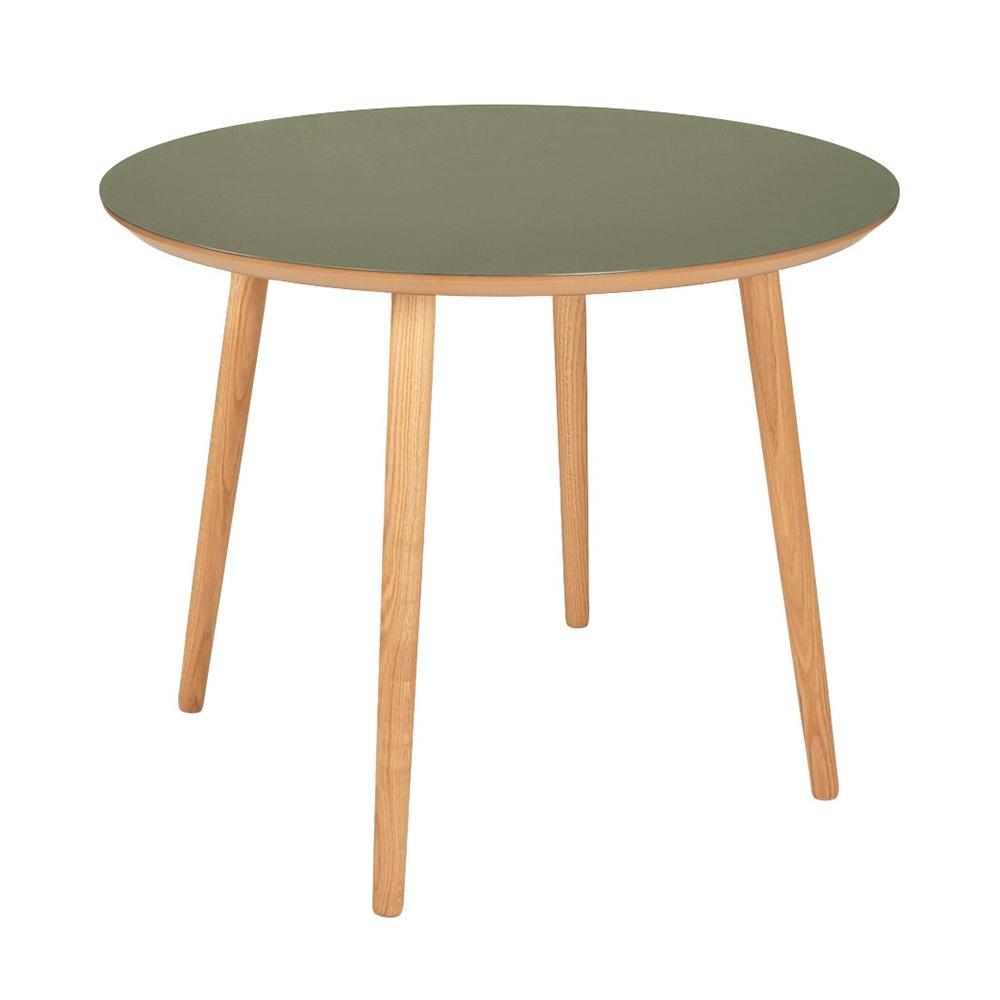 Image of   Rundt linoleum spisebord - Varberg - Oliven grøn