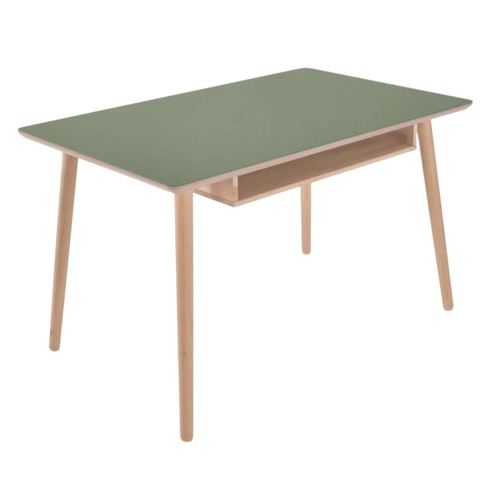 Image of   Skrivebord med linoleumstop og massiv egetræs hylde - Buffalo - olive