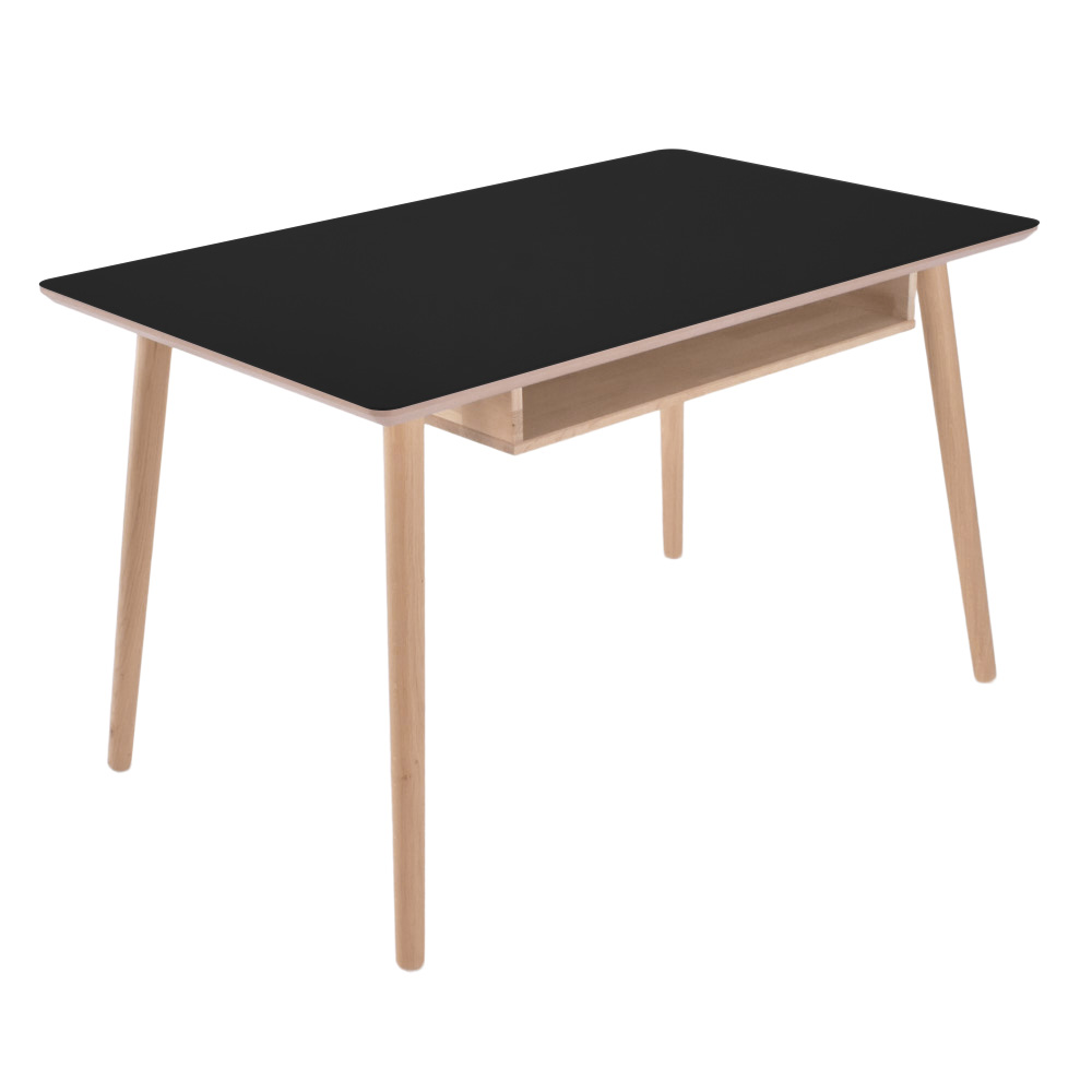 Image of   Skrivebord i linoleum og massiv eg - Buffalo - nero