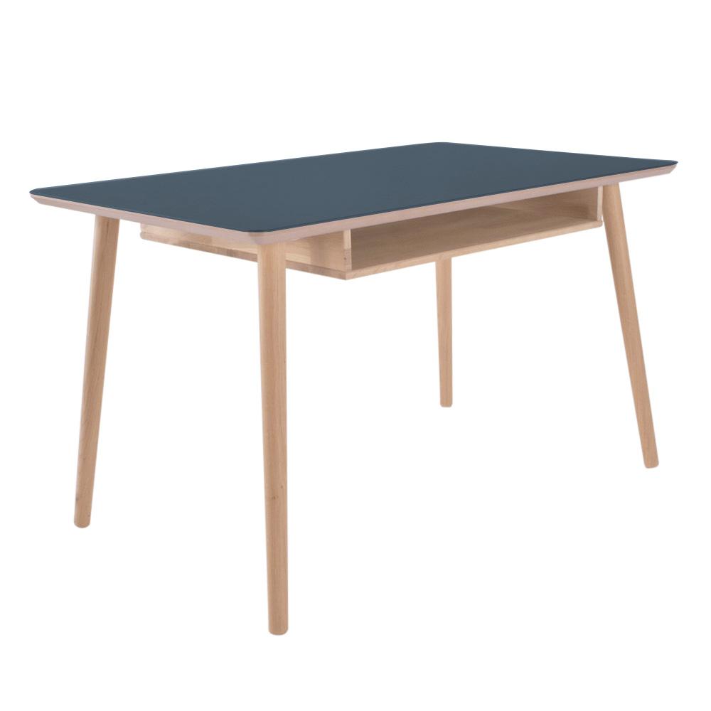 Image of   Skrivebord med linoleumstop og massiv egetræs hylde - Buffalo - smokey blue